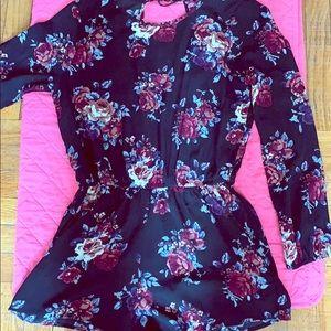 Flowery black short dress comfy - casual- nice.